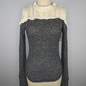 NWT Free People Snowflake Sweater Black White XS